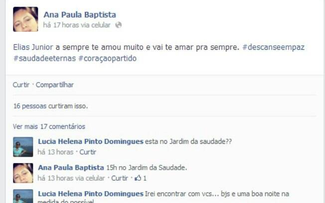 Ana Paula, tia de Elias, falou sobre a morte do sobrinho no Facebook