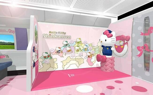 Em um dos vagões com áreas temáticas, uma estátua da Hello Kitty estará esperando para tirar foto com os turistas