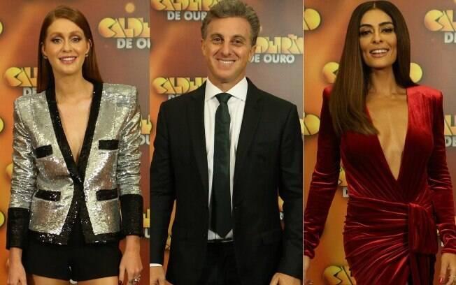 Marina Ruy Barbosa, Luciana Paes e Luciano Huck no evento especial do Caldeirão do Huck no fim do ano