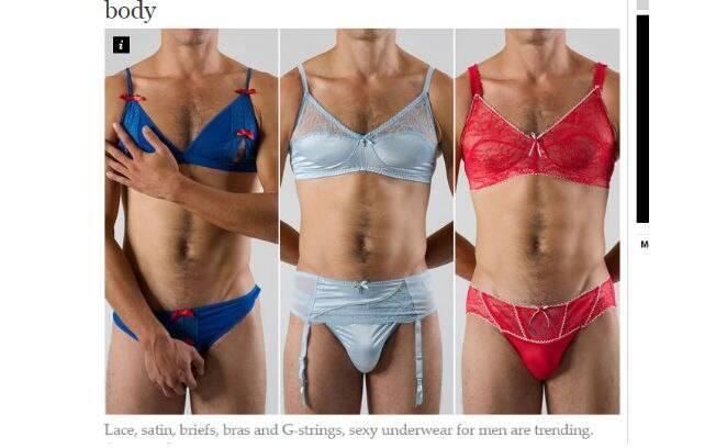 Marca australiana lança lingerie masculina. Foto  Reprodução The Independent 8980b6d5a64