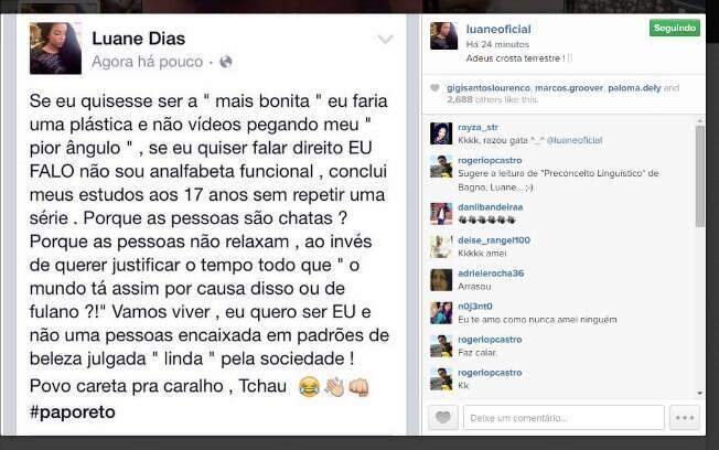 Desabafo de Luane Dias