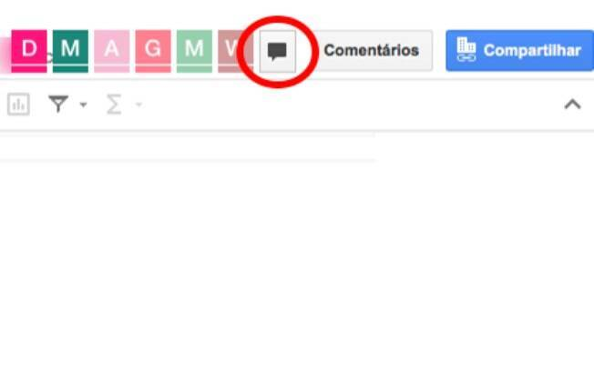 Clicando no ícone de um balão de fala um chat com os editores do arquivo irá se abrir.