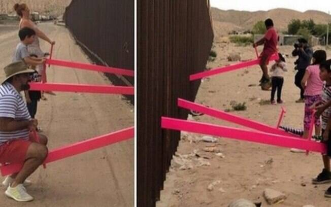 Arquiteto instalou gangorras nos dois lados da fronteira