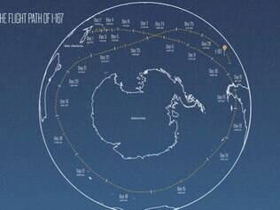 A 'volta ao mundo' realizada pelo balão passou pelo Oceano Pacífico, Chile, Argentina e ainda passou perto da Austrália e da Nova Zelândia