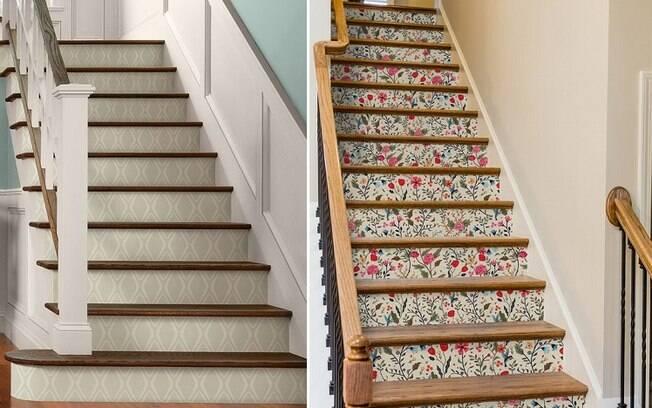 Uma forma 'diferentona' de utilizar esse material é aplicá-lo na parte da frente dos degraus de uma escada