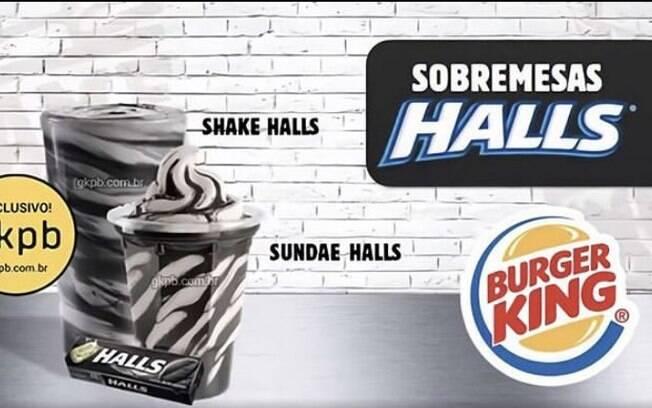 BK vai ter sundae e milk shake sabor halls preta