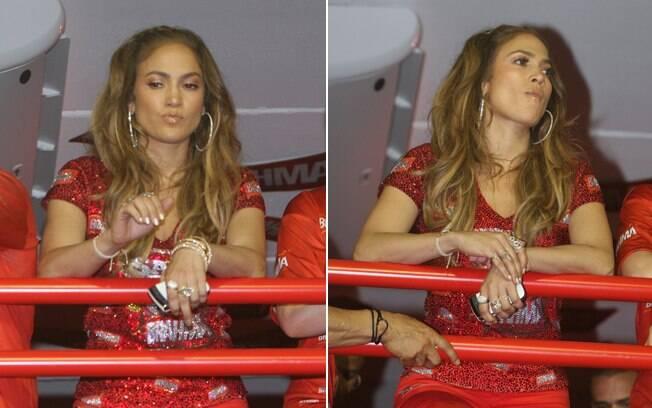 Jennifer Lopez em seu primeiro carnaval no Rio teve seus momentos de desânimo