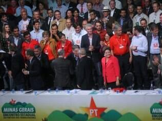 Dilma e Lula no encontro estadual do PT em Belo Horizonte