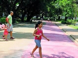 Pintura no chão já mostra onde será uma ciclovia no Parque Municipal