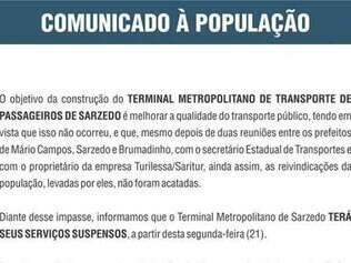 Comunicado foi publicado no site da Prefeitura de Sarzedo