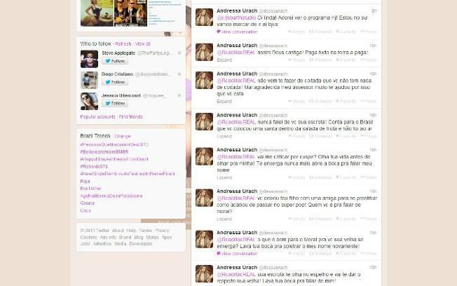 Andressa Urach detona Rita Cadillac por meio do Twitter