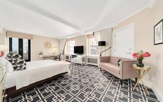 O quarto da suíte foi um ninho de amor para Marilyn Monroe e Joe DiMaggio, que ficaram casados por nove meses