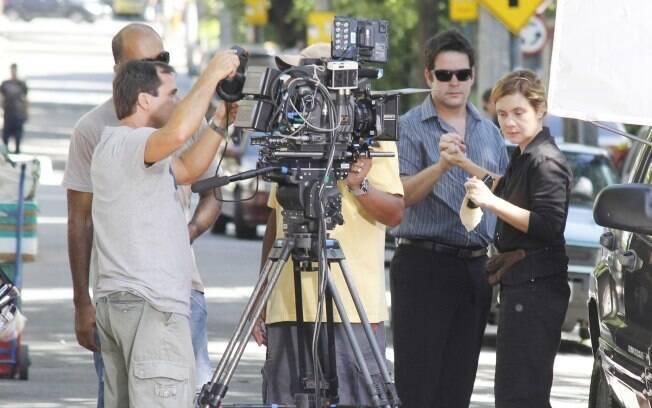 Adriana Esteves e Murilo Benicio gravam cenas de