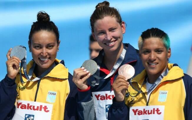 Nos 5 km, Poliana e Ana Marcela já tinham ido  para o pódio, com a prata e o bronze