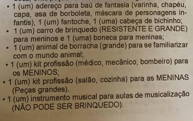 Lista que o Instituto Dom Barreto, Teresina, no Piauí, enviou aos pais dos alunos