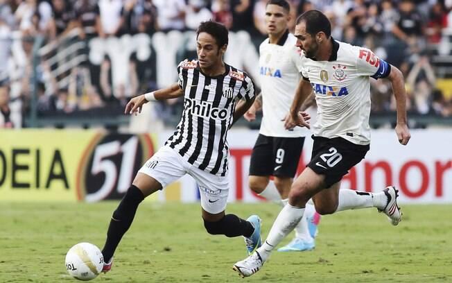 Danilo persegue Neymar no primeiro jogo da  final do Paulistão