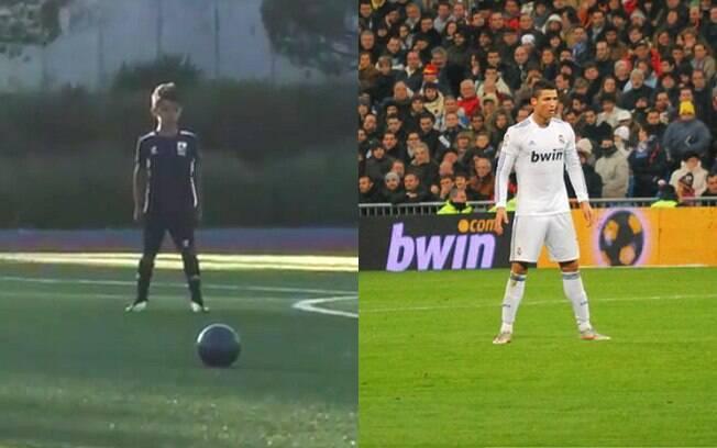 Filho de Cristiano Ronaldo reproduziu pose famosa do pai antes de cobrar falta: