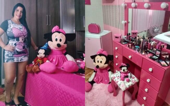 A dona de casa Cleonice Silva, de Rio das Pedras, no interior de São Paulo, tem a casa com a decoração da  Minnie Rosa