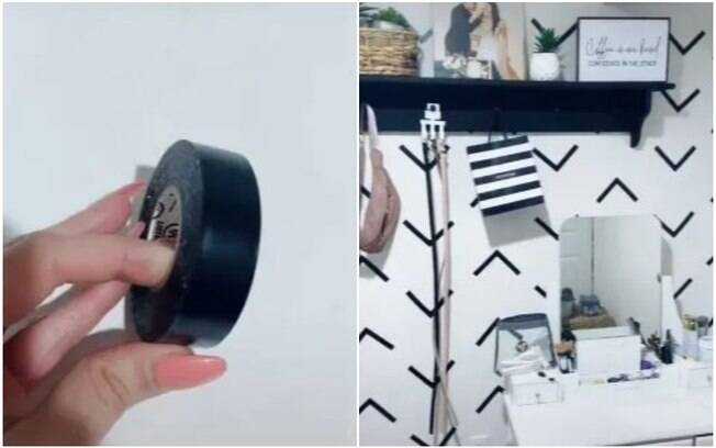 A dica é usar uma fita isolante para criar padrões geométricos e mudar a decoração do ambiente gastando pouco
