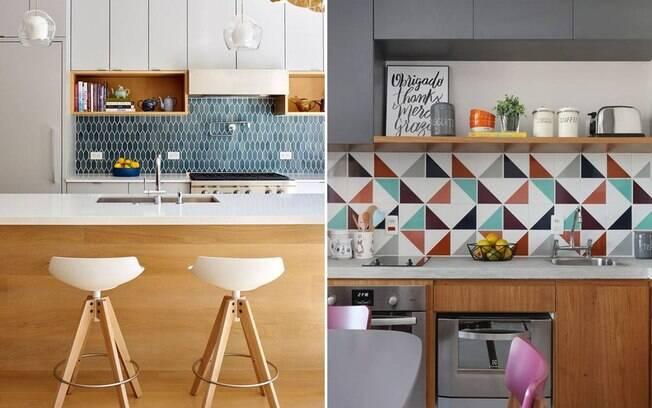O revestimento da parede dá o tom e a personalidade para a cozinha