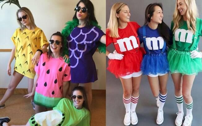 Para ideias de fantasias fáceis e coloridas, dá para montar uma salada de frutas ou M&M's em cores sortidas
