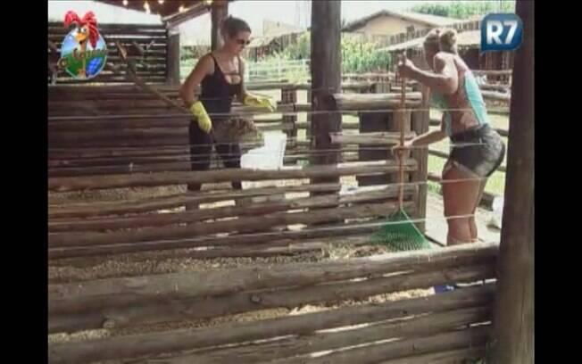 Personal trainer e funkeira conversam enquanto limpam a baia das ovelhas