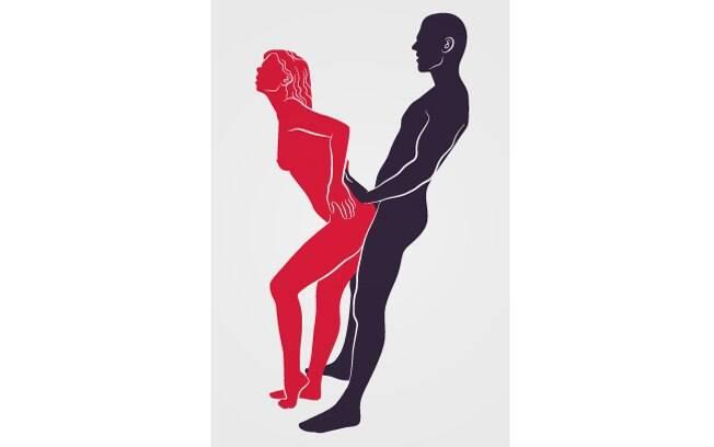 Com ela apoiada na vertical, a penetração por trás estimula bastante a mulher na área conhecida como ponto G