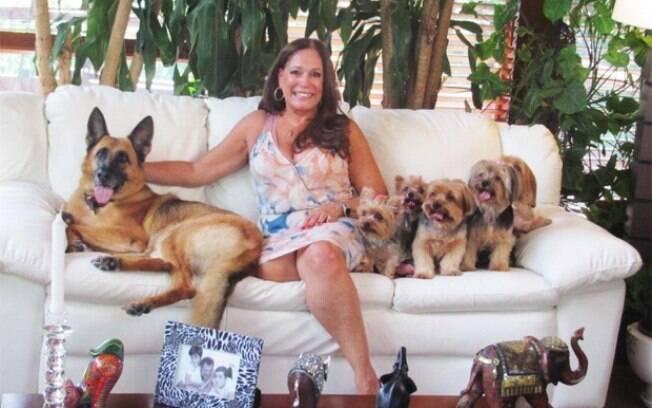 A atriz global Susana Vieira é dona de vários cães. Cinco deles pertencem à raça Yorkshire, e um é pastor alemão