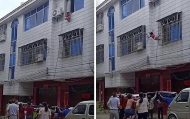 Vizinhos conseguiram salvar a menina de queda com o auxílio de um edredom