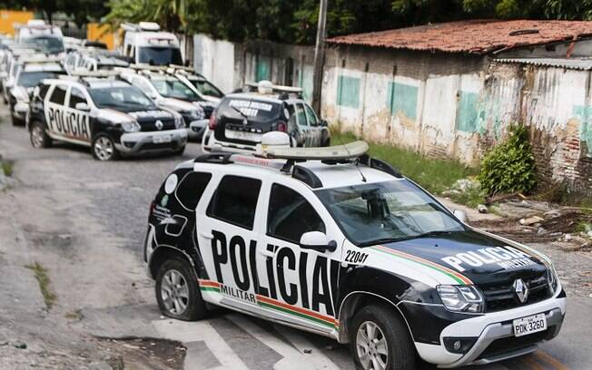 Carros da polícia em ronda no Ceará