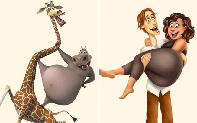 A girafa macho e o hipopótamo fêmea de Madagascar.