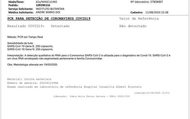 Cópia do exame realizado pelo governador João Doria, enviada pela assessoria de imprensa