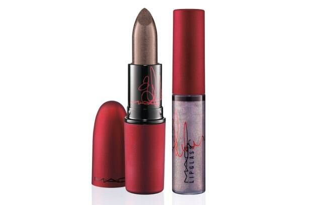Rihanna escolheu roxos metálicos para o gloss e o batom da nova coleção Viva Glam, da M.A.C l R$66 (cada)