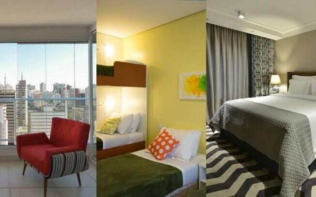 Entre os tipos de hospedagens, tem opções com belas vistas da varanda, quarto compartilhado e também de luxo