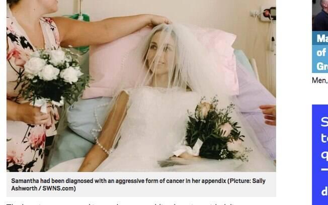 Samantha se vestiu de noiva e conseguiu se casar com Alec nos últimos dias de vida