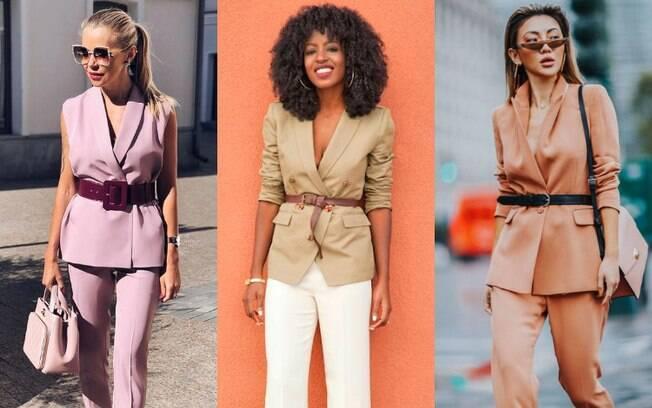 A combinação dos looks com cinto e terno é ótima para um dia de trabalho em que você queira estar elegante e com estilo