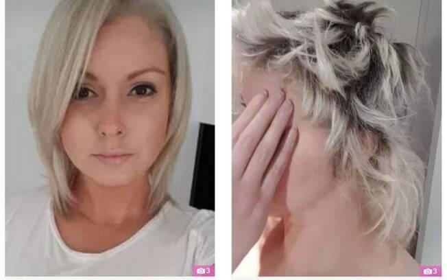 Jessica Bray antes e depois dos procedimentos capilares no salão Saint James Hair Studio, que fica na Austrália