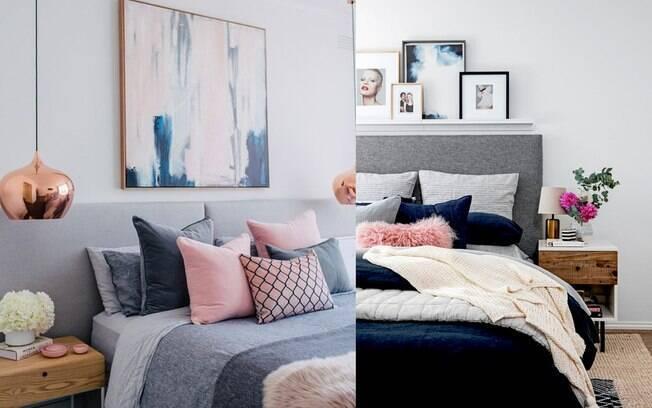 A cabeceira estofada em tons de cinza são certeiras para decorar seu quarto de um jeito elegante e sóbrio