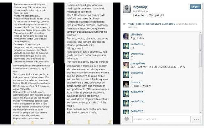 Neymar desabafa nas redes sociais
