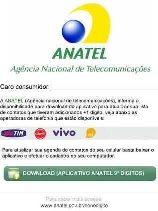 Anatel alerta para e-mail falso que promove aplicativo para nono dígito