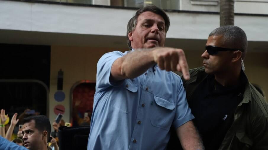 Jair Bolsonaro (sem partido), durante manifestação com apoiadores na avenida Paulista