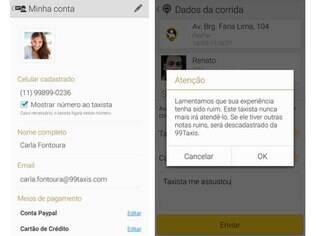 No Android, usuário do 99Taxis poderá ocultar o número. Do lado, uma reprodução da mensagem que o passageiro recebe após dar uma nota baixa para o serviço do taxista