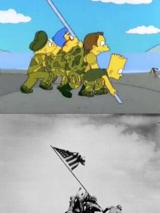 A famosa bandeira americana na ilha de Iwo Jima.