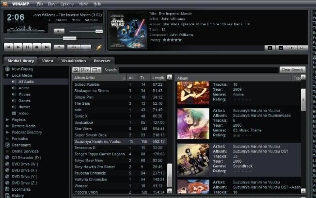 Tela do Winamp: tocador de MP3 deixará de ser oferecido a partir de dezembro