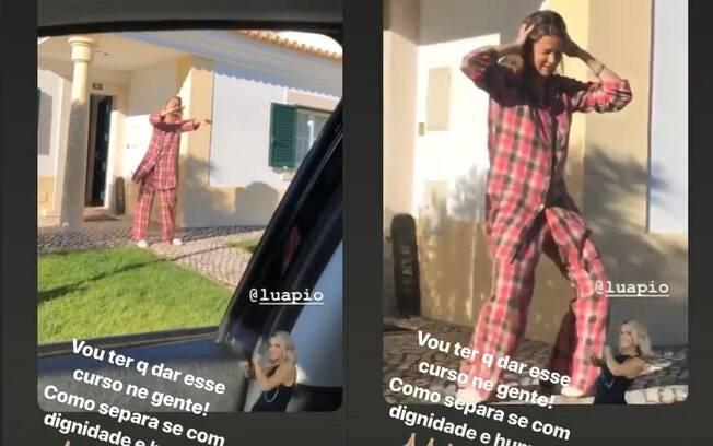 Luana Piovani aparece dançando e é filmada por Pedro Scooby