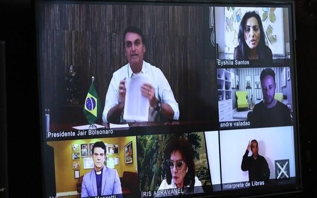 Jair Bolsonaro participa de videoconferência com lideranças religiosas a maioria evangélica, em comemoração da Páscoa, no dia 12 de abril