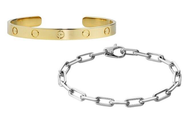 Bracelete em ouro amarelo e em ouro branco, da Cartier, também são indicados para homens