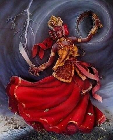 A orixã Iansã, encarnação das tempestades, raios e ventos, também representa Santa Bárbara. Foto: Reprodução/Amino Apps