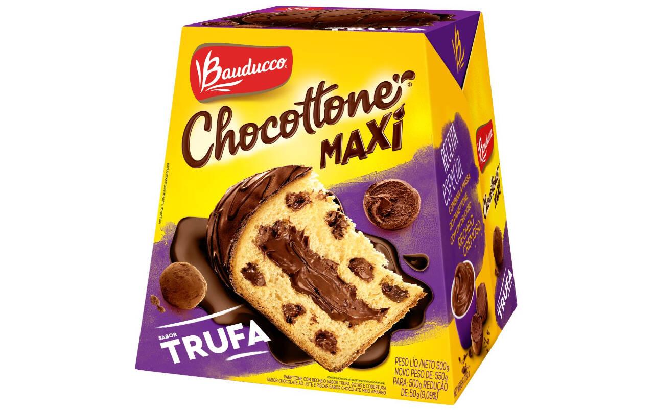 Chocottone Maxi Bauducco sabor Trufa - 500g (R$ 21,99). Foto: Divulgação