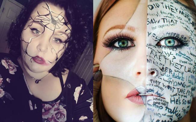 Desafio já conta com mais de 1,2 mil menções no Instagram, reunindo centenas de makes sobre transtornos mentais. Foto: Instagram/ reprodução